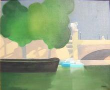 Freddy DEFOSSEZ - Painting - Péniche sur la Seine