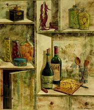 Dima GORBAN - Peinture - Wine and food in a kitchen cupboard