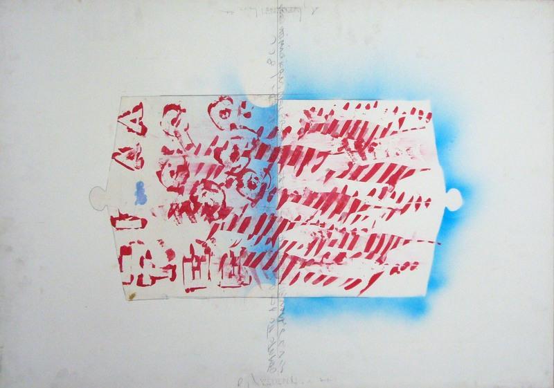 Alighiero BOETTI - Painting - Senza titolo ( pesce spada )