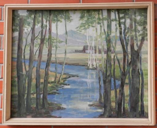 Josef VESELY - Painting - Cottage near pond