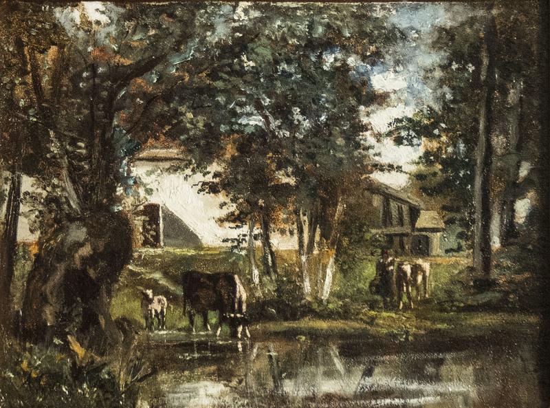 Andrés CORTÉS - Gemälde - Cows near the pond