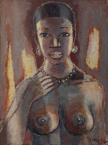Gérard SEKOTO - Peinture - Portrait de femme en buste