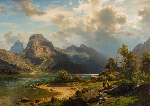 August Wilhelm LEU - Painting - Fjord Landscape with People 1870