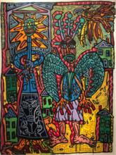 Robert COMBAS - Peinture - L'ange Juif et le Pere Soleil