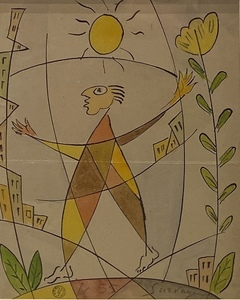 Léopold SURVAGE - Drawing-Watercolor - Personnage dans la ville