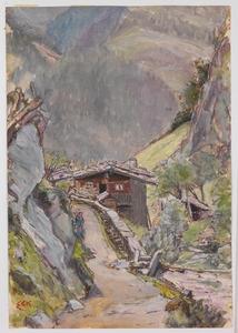 """Ernst BECK - Zeichnung Aquarell - """"Alpine Landscape"""" by Ernst Eck, ca 1920"""