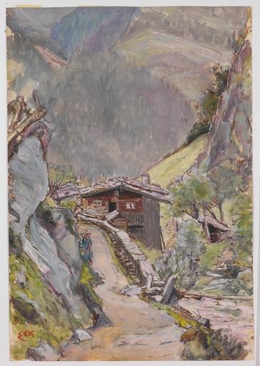 """Ernst BECK - Dessin-Aquarelle - """"Alpine Landscape"""" by Ernst Eck, ca 1920"""