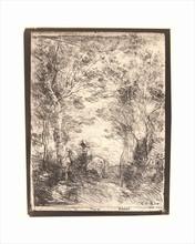 Camille Jean-Baptiste COROT - Estampe-Multiple - Le Petit Cavalier sous Bois