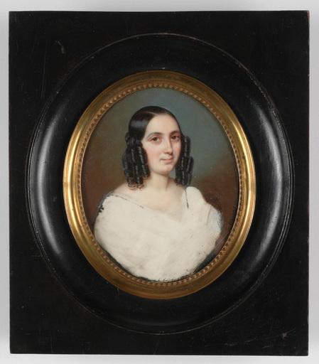 "Flavien Emmanuel CHABANNE - Miniature - ""Portrait of a young woman"" miniature on ivory, 1840s"