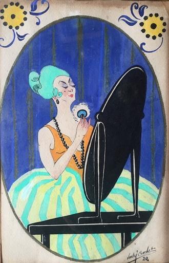 André COUCHET - Zeichnung Aquarell - comtesse au miroir