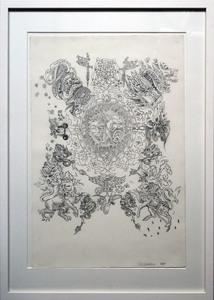 Wim DELVOYE - Drawing-Watercolor - Untitled (Dieu et mon Droit)