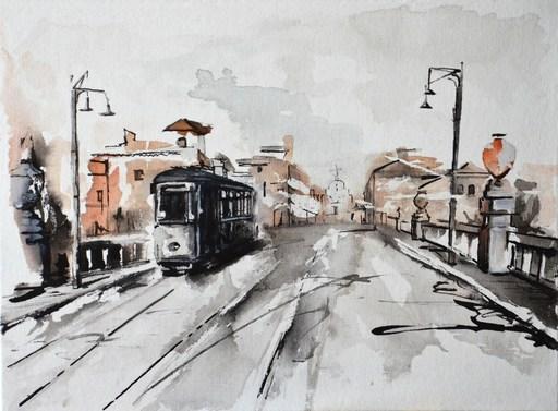Diana KIROVA - Zeichnung Aquarell - Ponte Tazio (Roma)