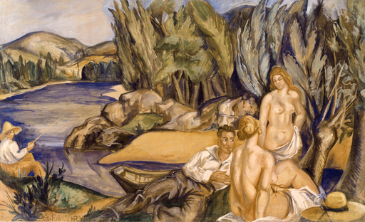 André FAVORY - Painting - Nudes in a landscape, 1920s