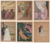 Maggy MONIER - Drawing-Watercolor - Lot of 6 art deco signed drawings