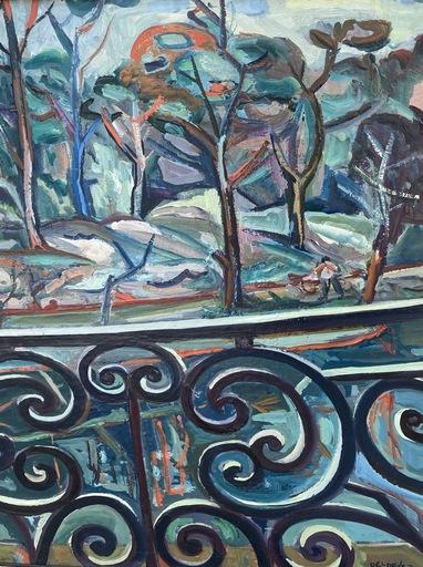 Jean DELDEVEZ - Gemälde - Vue du balcon