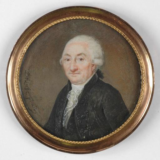 """Jean Jacques Thérésa DE LUSSE - Drawing-Watercolor - """"Portrait of an aristocrat"""" miniature, ca. 1790"""