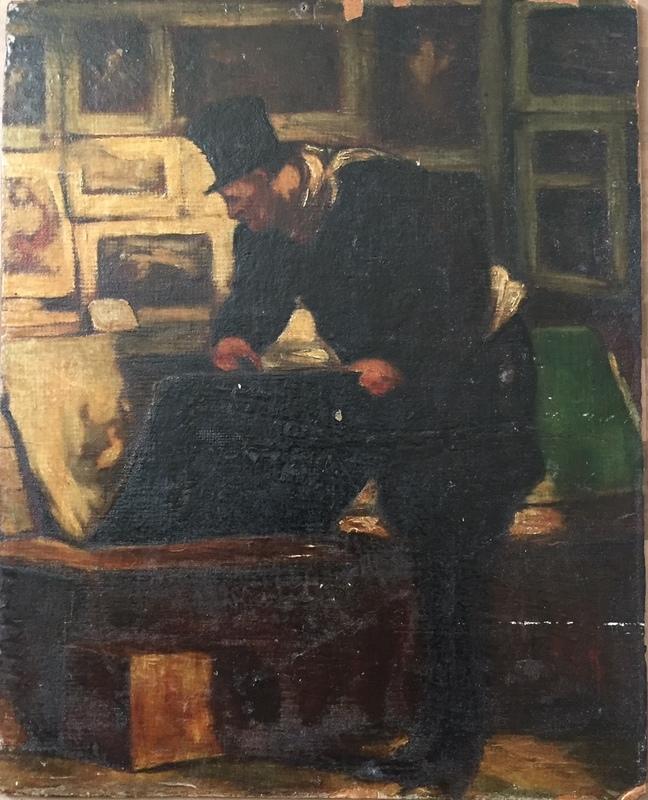 Honoré DAUMIER - Peinture - l'amateur d'estampes
