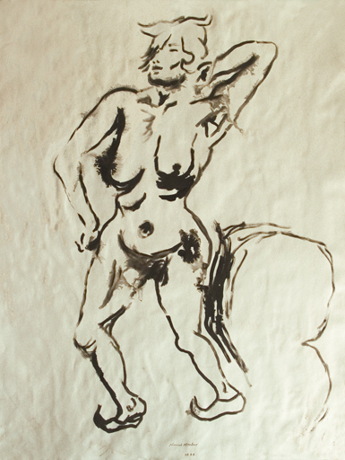 Manuel MONTERO - Drawing-Watercolor - Femme nue n°2