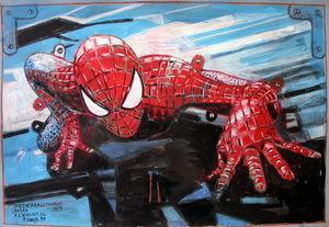Peter SENGL - Drawing-Watercolor - Spiderman aus Schneidebogen