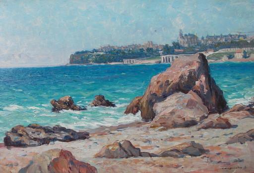 Victor BRUGAIROLLES - Pintura - Ville en bord de mer