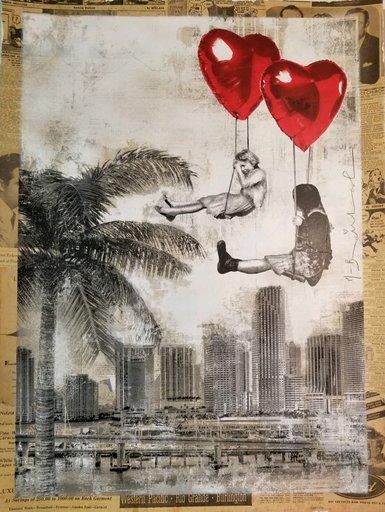MR BRAINWASH - Zeichnung Aquarell - Love is in The Air Miami