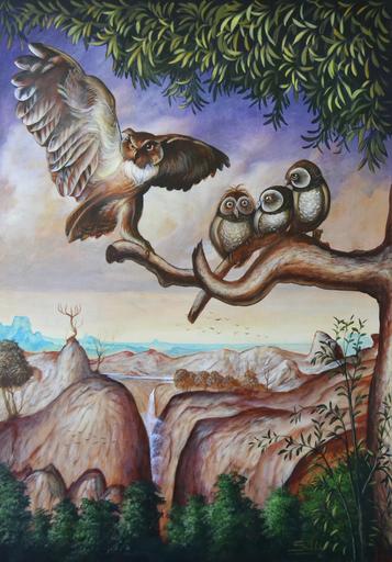 Carlos SABLÓN - Peinture - L'Aigle et le Hibou