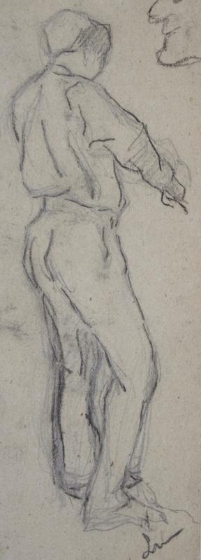 Maximilien LUCE - Zeichnung Aquarell - Ouvrier