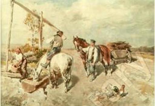 Gregor VON BOCHMANN - Drawing-Watercolor - PAYSANS ET CHEVAUX A L ABREUVOIR