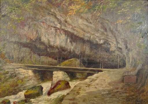 Rudolf WEISS - Pintura - Die Twannbachgrotte am Bielersee