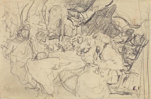Édouard VUILLARD - Dibujo Acuarela - Étude pour XI-58 Femmes et enfant au Clos Cézanne