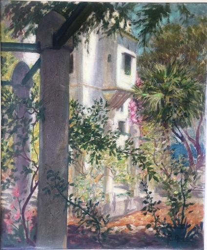 Pierre-Louis GANNE - Gemälde - JARDIN ORIENTALISTE AU BORD DE MER