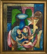 Mario CARREÑO - Pintura - Mujer con guitarra