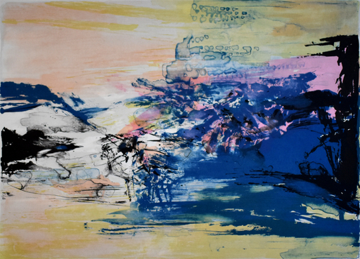 ZAO Wou-Ki - Grabado - Untitled, from: 12th Anniversary Galeria Joan Prats 1976-88