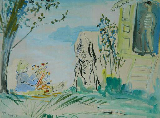 Jean DELDEVEZ - Dibujo Acuarela - PAYSAGE - LANDSCAPE - GITANS - GYPSIES