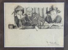 Joaquín SOROLLA Y BASTIDA - Dibujo Acuarela - escena de teatro, Chicago, sobre 1911