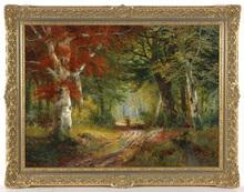 """Alois ARNEGGER - Pintura - Alois Arnegger (1879-1967) """"Gathering wood"""""""