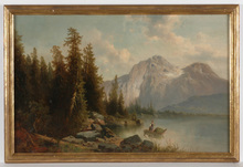 "Josef THOMA - Painting - ""Alpine lake"" oil on canvas, 2.H. of the 19th Century"