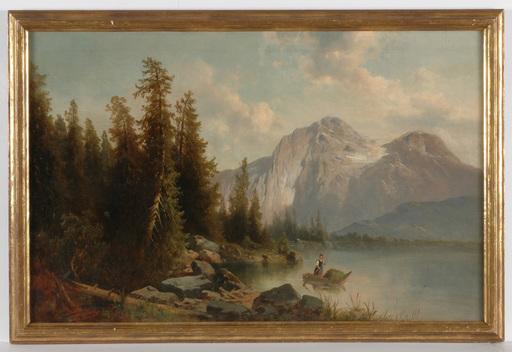 "Josef THOMA - Pintura - ""Alpine lake"" oil on canvas, 2.H. of the 19th Century"