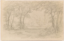 "Remigius Adrianus VAN HAANEN - Drawing-Watercolor - ""Landscape Study"", middle 19th Century"