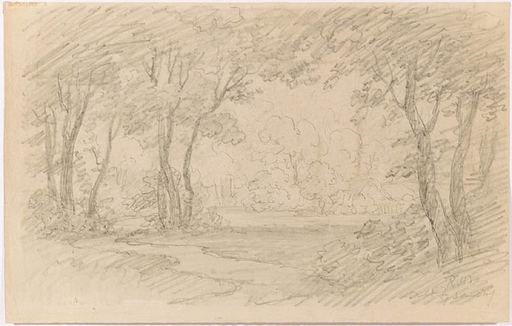 """Remigius Adrianus VAN HAANEN - Disegno Acquarello - """"Landscape Study"""", middle 19th Century"""