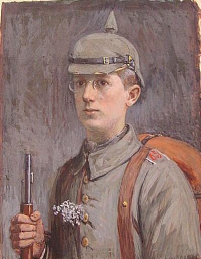 Otto ILLIES - Dessin-Aquarelle - Selbstporträt als junger Soldat