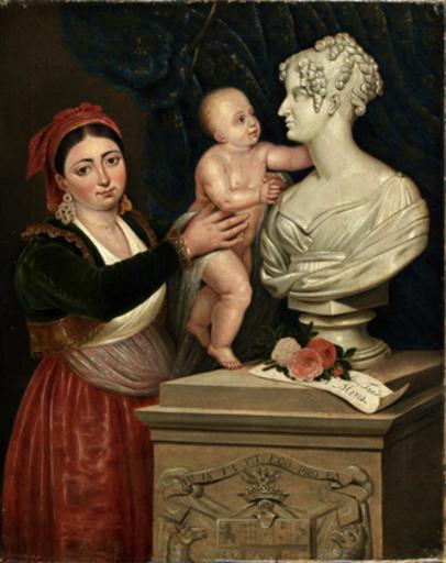 Giuseppe PATANIA - Painting - La nutrice mostra a J F Stuard  il busto della madre