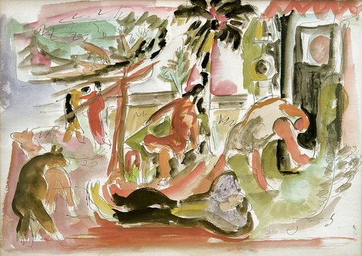 Mariano RODRIGUEZ - Peinture - Paisaje con Figuras y Caballo