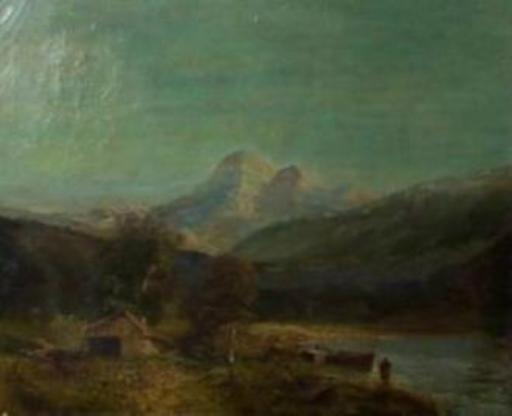 Simone CAMPANILE - Pintura - Le refuge au bord du lac.