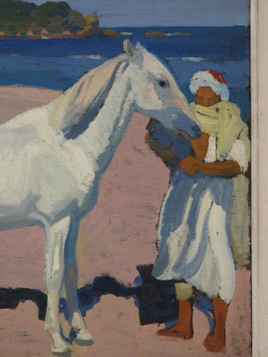 """Frédéric Marius DE BUZON - Painting - """"LE CHEVAL BLANC"""""""