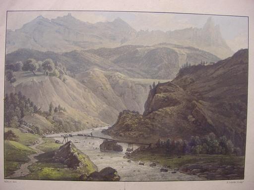 Friedrich SALATHÉ - Zeichnung Aquarell - Le Pont des Chèvres