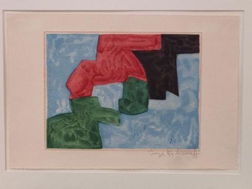 Serge POLIAKOFF - Stampa-Multiplo - Composition bleue, noire, rouge et verte XVIII