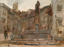 Isaac Lazarus ISRAELS - Painting - Fontaine St. Anne, Fribourg (Switzerland)