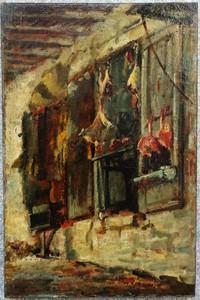 Albert Marie LEBOURG - Painting - Alger, étal d'un boucher circa 1872/77