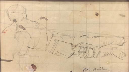 Ferdinand HODLER - Dibujo Acuarela - Figurenstudie zu Rückzug von Marignano